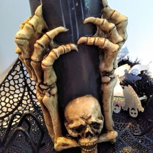 Vintage halloween skeleton candle holder